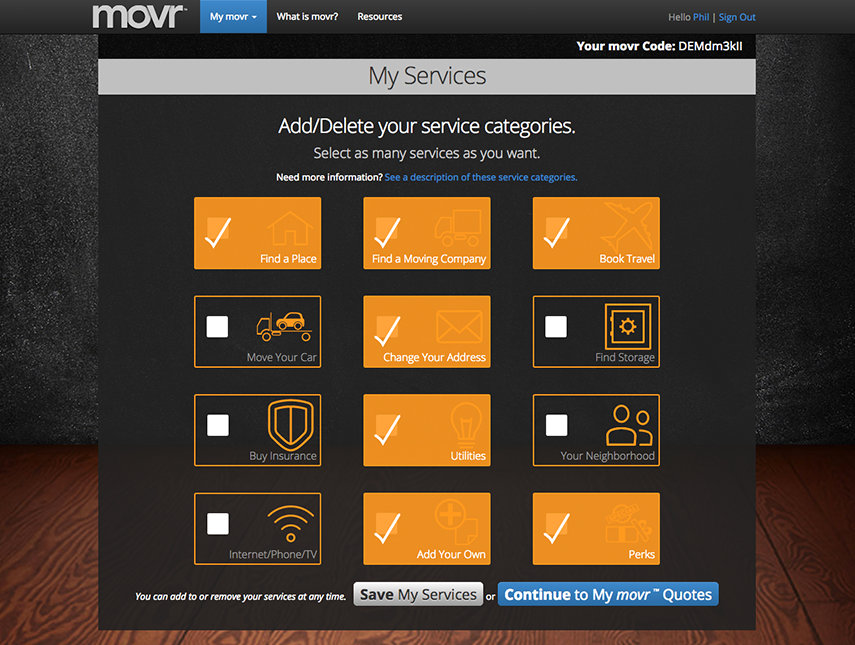 The My Services screen for comparing moving services with movr.