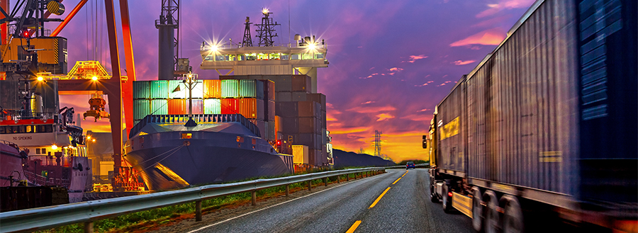 Long distance and freight carriers ready for shipping assignments.