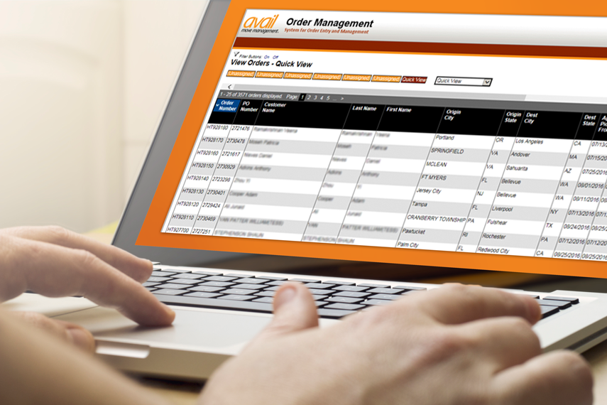 Quick view of data on Avail Order Management